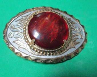 Western Belt Buckle Flaming Orange Red Bowelerite (Cabbed Bowling Ball) Hand Set Stone