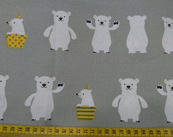 """Hello bear - fabric - 1 yard - cotton linen  - 3 colors - Check out with code """"5YEAR"""" to save 20% off"""