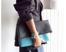 Aqua / Black Large Foldover Clutch Bag - Vegan clutch bag - two toned clutch bag