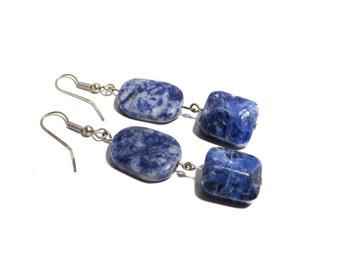 Lapis Lazuli Stone Earrrings, Women, Teen, Blue, Ready To Ship,