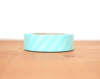 washi tape: turquoise blue and white stripes