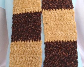 Winter Scarf, Chenille, Chocolate and Khaki, Acrylic Blend, Handmade, Hand Crochet, Neckwarmer, Gift Idea