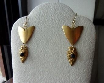 40% OFF SALE! - Geometric Brass Triangle Brass Arrowheads Modern IndoPacific Black Glass Earrings