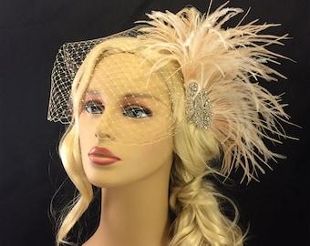 Fascinator,  Rhinestone Bridal Feather Fascinator, Champagne Feather Fascinator, Bridal Headpiece, Wedding Hair Accessory, Wedding Veil