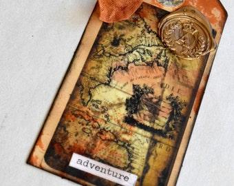 Shipping Tag Art, Ancient Map Tag, Mariner's Tag, Mixed Media Tag, Altered Tag