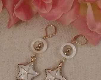 Gold Starfish Earrings, Dangle, Enamel, Plated, Shell