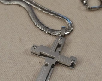 BIKER Cross Pendant Necklace, Unique Design, Cut Out Design, Stainless Steel, Chain, Stainless Flat Chain