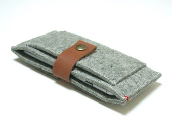 IPHONE 6+ PLUS WALLET felt - grey 100% natural merino wool - leather closure - felt case