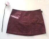 90s grunge doc marten dark red pvc mini skirt size M