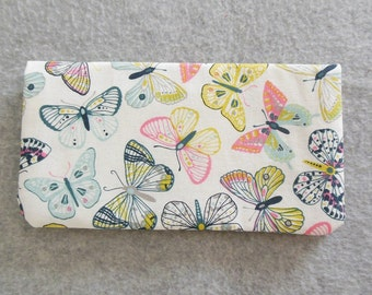 Fabric Checkbook Cover - Pastel Butterflies
