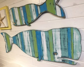 Large and Small Whale Mom and Baby Sign Beach House Striped Weathered Wood Wall Art by CastawaysHall