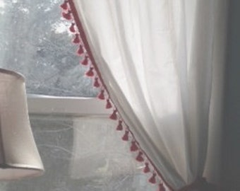 French Tassel curtain with red tassel trim