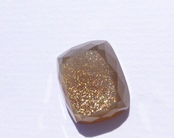Moonstone Faceted Cabochon. Sunstone-like Rare Gold Flecked Natural Moonstone Geometric Cabochon. 1 pc. 18.64 cts. 15.5x19x7mm (MS410)