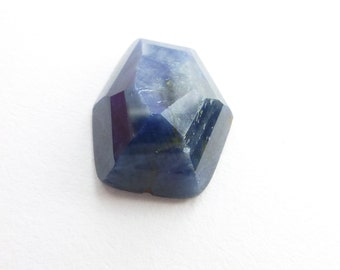 Sapphire Rose Cut Faceted Cabochon. Large. Natural Unheated / Untreated. Tavernier Cut Geometric. 1 pc. 12.07 cts. 13x15x6.5 mm (S1606)