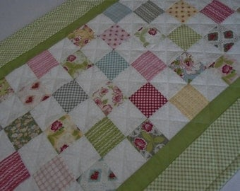 Patchwork Quilted Table Runner, Quilted Table Topper, Dresser Scarf, Cottage Shabby Chic, Floral Table Runner, Pastels, Soft Greens