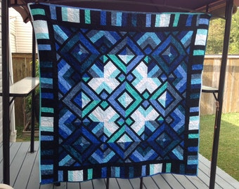 REDUCED - Beautiful Stained Glass Quilt, lap quilt, wedding quilt