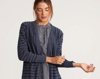 Blue winter Stripes cardigan,  long sleeves jacket, knitted cardigan, midi length jacket, casual jacket, Long jacket, loose fit top, sale