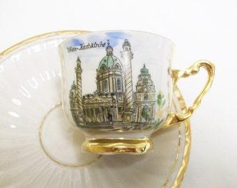 Wien Karlskirche Gold Demitasse Cup & Saucer HB Handarbeit //