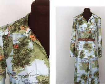 Vintage 70's Dress 2 Pc Oriental Print Polyester Size M / Medium