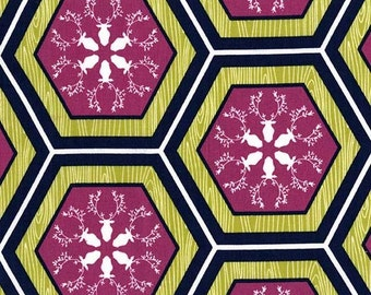 Rustique by Michael Miller Orchid Hexagon Park City 1/2 Yard Cotton Quilting Fabric, Deer