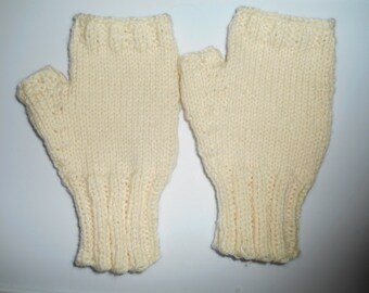 Adult Fingerless Gloves.  Cream color, L to XL Mens Winter Gloves.