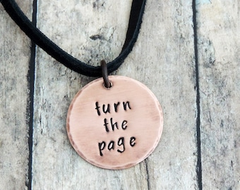 Turn the Page Necklace - Overcomer - Music Quote Necklace -  Bob Seger Song - Inspirational Jewelry