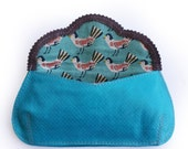 Turquoise small evening purse, small lovely clutch with green and gold heart, birds and hearts bag