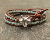 Silver and Turquoise Fox Bracelet Unique Leather Fox Jewelry