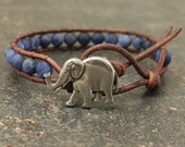 Silver Blue Elephant Bracelet Semi Precious Sodalite Elephant Jewelry Single Leather Wrap Bracelet