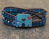 Colorful Elephant Jewelry Turquoise Capri Blue Elephant Bracelet Whimsical Beaded Leather Wrap Bracelet