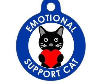 Pet ID Tag - Emotional Support Cat Medical ID Tag - Medical Alert Tag, Pet Tag, Child ID Tag, Dog Tag, Cat Tag