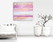 "24"" x 24"" Original Abstract Painting - Contemporary Wall Art Decor - yellow pink - stripes texture ombre"