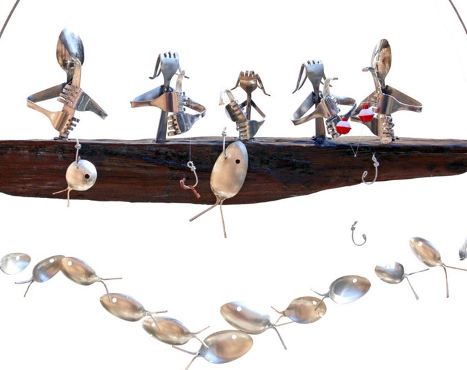 Set Of Three Fishing Chimes, Each With 4 Men Fishing From The Boat And 9 Fish Swimming Beneath - 4 Person Gone Fishing Chime- Spoon Fish
