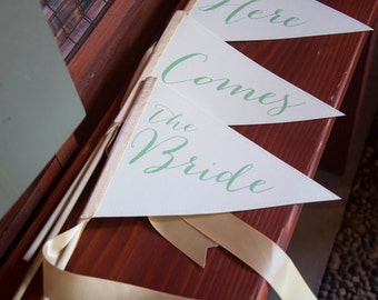 """Here Comes the Bride Wedding Signs Set of 3 Small Made To Order Banners 