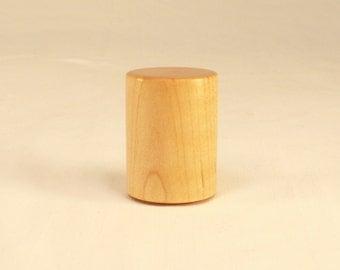 "Wood Lamp Finial Maple Drum Pattern 2; 1.5"" Tall x 1.1"" dia"