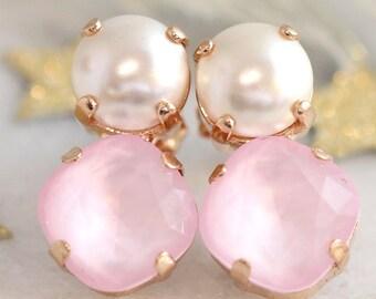 Pink Earrings, Powder Pink Earrings, Bridesmaids Pink Earrings, Rose Quartz Bridal Earrings, Swarovski Pink Stud Earrings, Gift For Woman