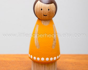 Wooden peg doll girl  hand painted - cute girl doll in pretty yellow dress dolls house childs toy