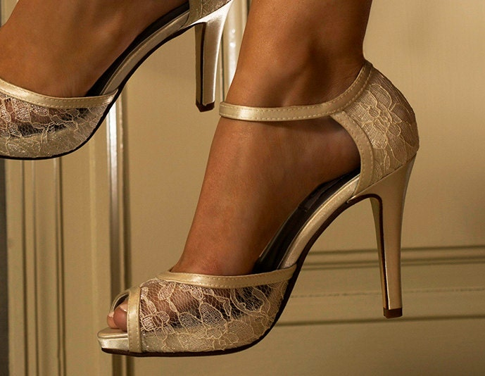 Wedding Shoes Lace 3 1 2 Heels Peep
