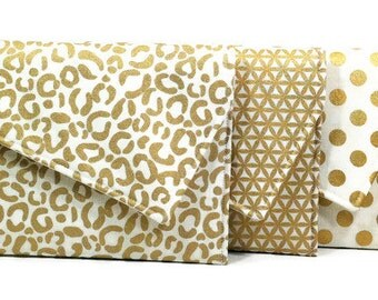 Gold Bridesmaids Clutches Envelope Clutches Gatsby Wedding - Metallic Gold Black Ivory White Set of 7 You Choose