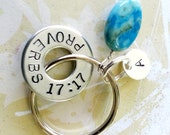 Proverbs 17:17 Keychain with a sterling silver disc and a turquoise bead - Bible Verse