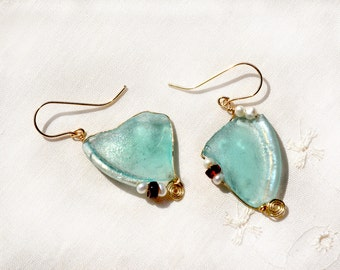 Roman Glass Earrings. Gold Filled Earrings with Pearls and Garnets. Roman Glass Jewelry. Big Aqua Earrings. Israei Jewelry.Free Shipping