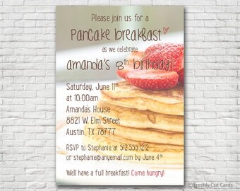 Pancake Breakfast Invitation - Printable or Printed (w/ FREE Envelopes)