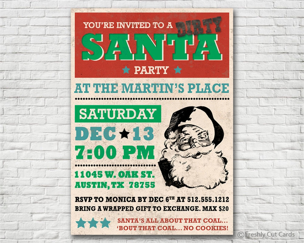 Vintage Dirty Santa Party Invitation Printable or Printed