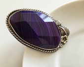 Gorgeous Faceted Purple Agate Sterling Silver Ring with Silver Flowers, Size 8.5