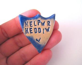 Helpwr Heddiw Brooch. Helper of the Day in Welsh. End of Term Teacher gift. School Blue. Made in Wales, UK