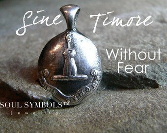 "WITHOUT FEAR, Courage:  Wax Seal Silver Necklace Mens Jewelry, LATIN 'Sine Timore"",  Mens Gift Arm and Spear Sterling Pendant"