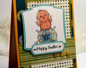 "Easter Card- Handmade Card Greeting Card 5.5 x 4.25"" Happy Easter Cute Chick Egg Stationery 3D Card - OOAK"