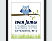 Modern Owl Birth Announcement Wall Art - 8x10 Baby Children Nursery Wall Print Poster