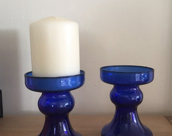 One pair of vintage cobalt blue glass candle holders