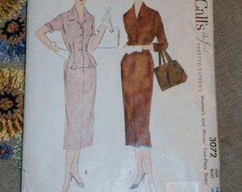 """Vintage 1950s McCalls Pattern 3072 for Misses Two Piece Dress Size 16, Bust 34"""", Waist 28"""", Hip 37"""", Uncut"""